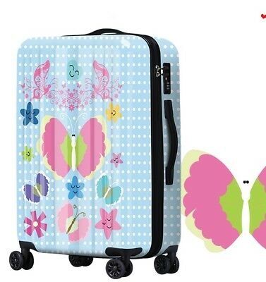 D656 Cartoon Butterfly Universal Wheel Travel Suitcase Luggage 20 Inches W