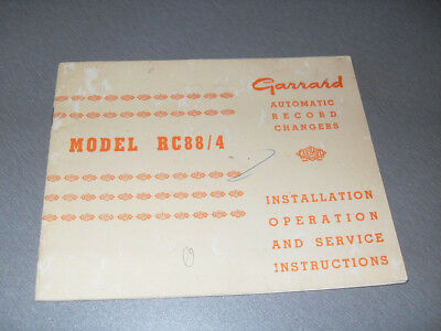 Vintage Garrard RC88/4 Record changer operation and service booklet