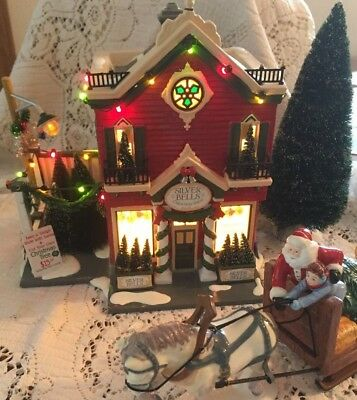 Dept 56 Silver Bells Christmas Shop Dickens Village + accessories