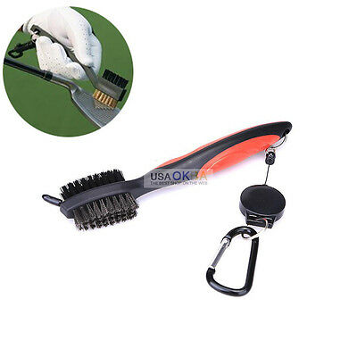 2 FT Sided Wire Bristles Golf Club Brush Groove Ball Cleaning Cleaner+Snap Clip