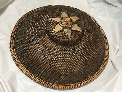 Rare Collectible Asian Chinese Filipino Coolie Hat Bamboo Straw Rice Paddy 19""