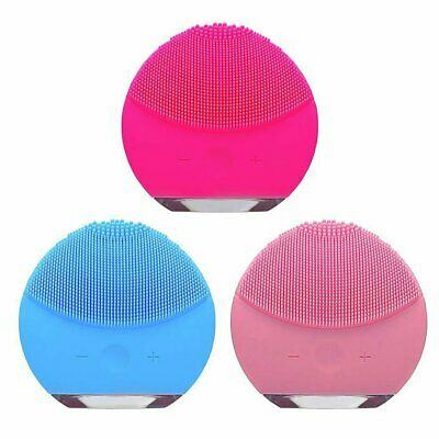 Ultrasonic Electric Silicone Facial Cleaning Brush Face Spa Skin Care Massage IW