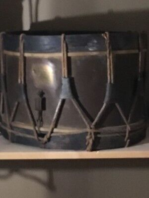 Post civil war drum with sling and sticks original field rope antique military
