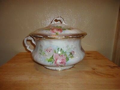 Homer Laughlin Chamber Pot - Pink Roses with Gold Rim