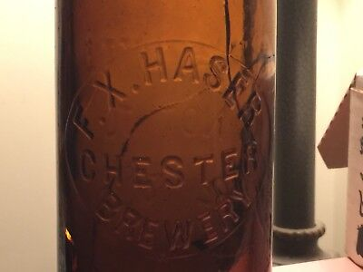 Rare Antique Beer Bottle F.X. Haser Chester Brewery 1885-1887