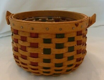 Longaberger Small Green And Red Basket with Plastic Liner