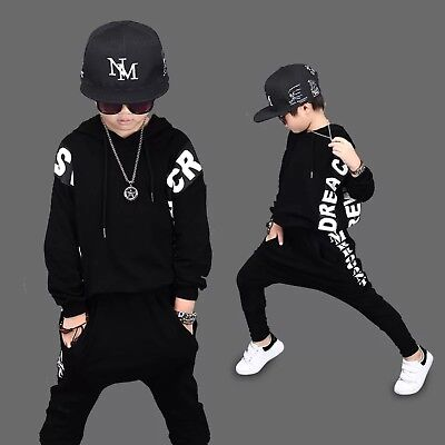 Hip Hop Kids Boys Hooded Sweater Pullover Sweatshirt Outfits Sport Set Age 4-14