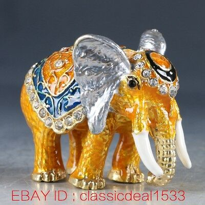 Chinese Cloisonne Handwork Carved Elephant Statue Jewelry Box MY0377