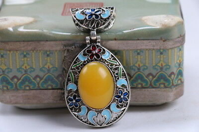 Old Decorated Handwork Miao Silver Carving Flower Inlay Zircon Pendant bb221