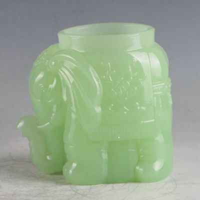 100% Natural Jade Handwork Carved Elephant Cup XPZ041