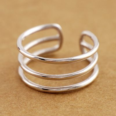925 Sterling Silver Triple Layers Line Adjustable Ring size 6 A3242