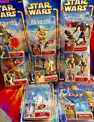 """Hasbro 3.75"""" Action Figure Star Wars ATTACK OF THE CLONES LOT OF 8 See Pkg Cond."""