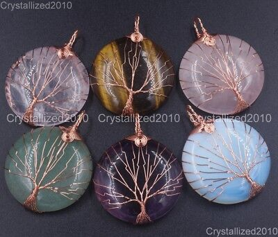 Natural Gemstones Tree Life Round Reiki Chakra Healing Pendant Beads Rose Gold