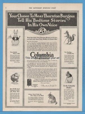 1918 Columbia Gramophone Phonograph Record Bedtime Stories Thornton Burgess Ad