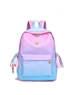 Princess pink Canvas School Backpack Shoulder Bag Travel Rucksack Satchel Bag