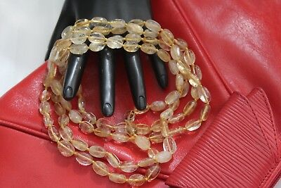 Exceptional Rare Vintage Natural Citrine Stone Beads Hand Knotted Long Necklace