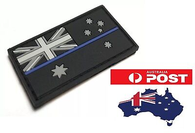Thin Blue Line Rubber/PVC Patch Mini, Australian Flag, Police, Hook Rear