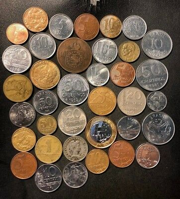 VINTAGE Brazil Coin Lot - 1870-Present - 36 Great Coins - Lot #N17