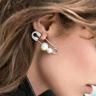 Safety Pin Earring Irregular Simulated Pearl Earring For Fashion Women Jewelry