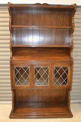 Ethan Allen Royal Charter Oak Bookcase Library Wall Unit Leaded Glass #16-9005
