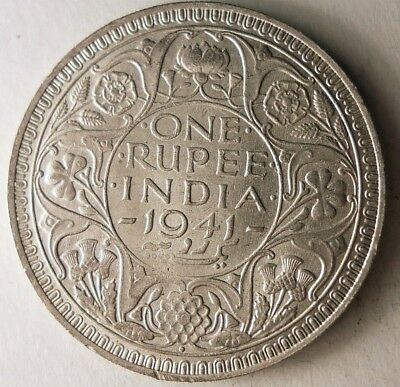 1941 BRITISH INDIA RUPEE - AU - EXCELLENT High Value Silver Crown Coin - Lot N17