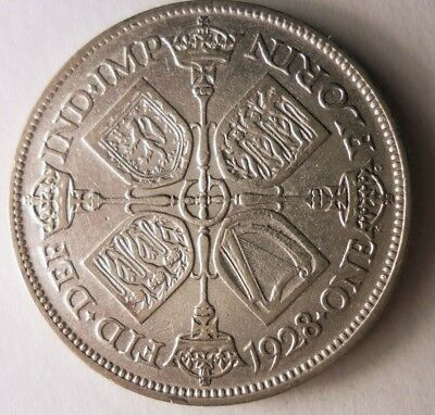 1929 GREAT BRITAIN FLORIN - Excellent Coin - RARE + VALUE Silver Coin - Lot #N17