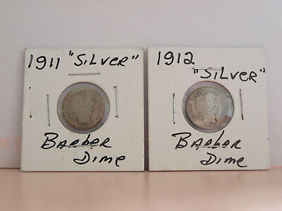 United States Barber Dimes (x2) 1911 and 1912