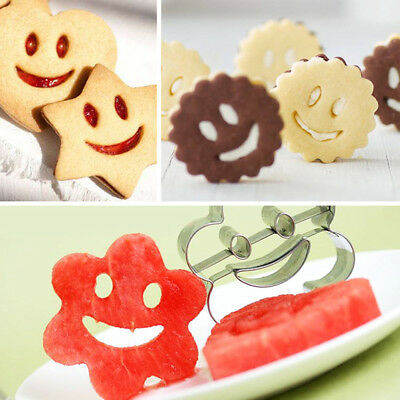 4PC Stainless Steel Biscuit Cookie Cutter Smiling Face Emoji Fruit Vegetable Dec