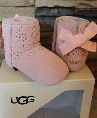 NIB UGG JESSE Bow Suede Infant Booties PINK M 12-18 Months