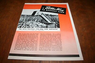 Allis Chalmers Mounted Two-Row Corn Picker for WC Tractor Brochure 1946!