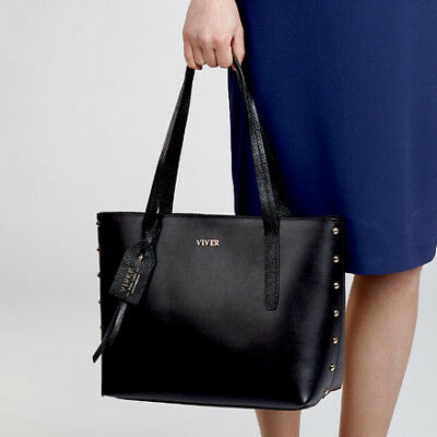 NEW Black Leather Tote Bag For Ladies Women's by Via Provincia