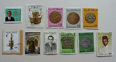 11 stamps of Morrocco issued 1962-1980. Used.