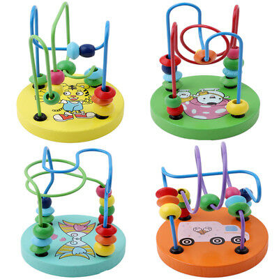 Novel Children Kids Baby Colorful Wooden Mini Around Beads Intellect Game Toy LV
