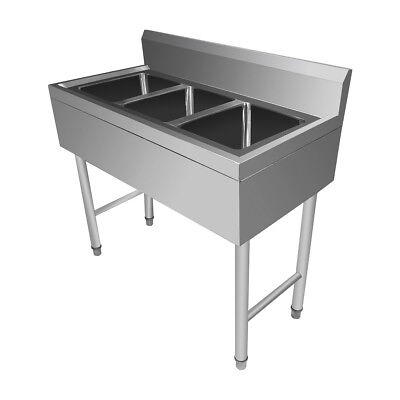 Commercial 304 Stainless Steel Sink Triple Bowl 3 Compartment Kitchen Restaurant