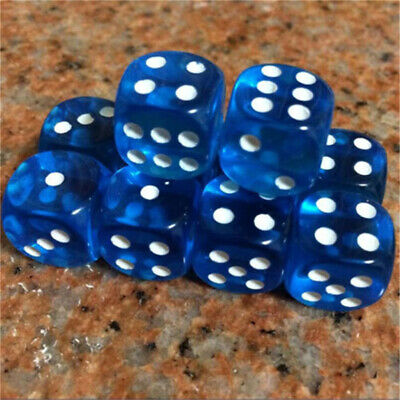 10pcs 16mm Six Sided D6 Transparent Standard Dice Party Creative For RPG Gaming
