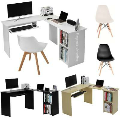L-shaped Computer Desk & Keyboard Tray And bookshelf Corner Table Office Chair