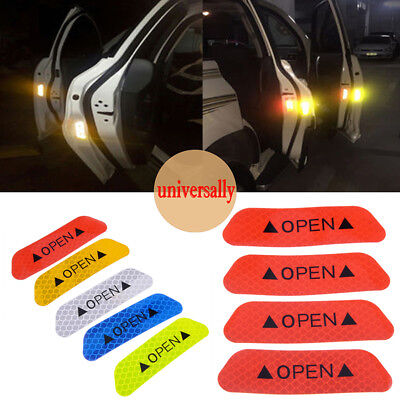 Red 4PCS Super Car Door Open Sticker Reflective Tape Safety Warning Decal Sign