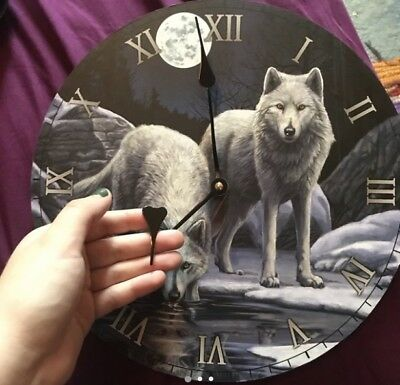 wolf gothic clock with wall mount boho hippie