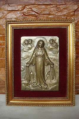 RARE OLD Virgin Mary with angels French signed Catholic BRONZE ICON IKON