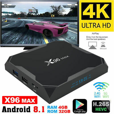 X96Max Smart TV Box 4K Android 8.1 Quad Core S905X2 WiFi BT 4G/64G Media Player