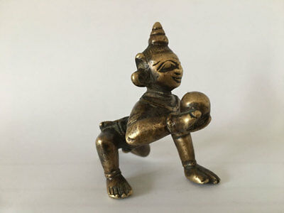 18th C An old antique solid brass hindu statue BABY KRISHNA Figures.