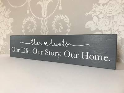 Personalised Wooden Plaque Our Life Story New Home Gift