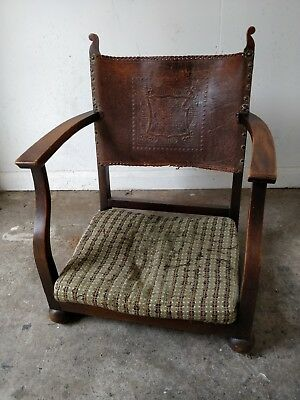 Old Vintage Antique Wooden & Leather Fireside Chair