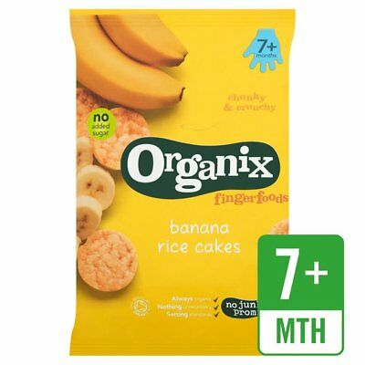 Organix Banana Rice Cakes 50g Delicious Baby Snacks Early Age No Junk Promise