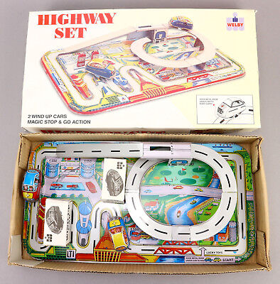 WELBY LUCKY TOYS Highway Set Blech Bahn Uhrwerk Autobahn OVP Tin Toy Boxed