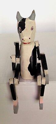 Vintage Handmade Black & White Cow Movable Arms and Legs Collectable