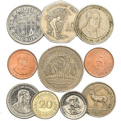 Mauritius Coins From Country In East Africa Old Collectible Mauritian Coins