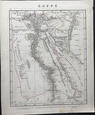 Antique Map EGYPT c1828 by A. Arrowsmith original engraved, outline colour