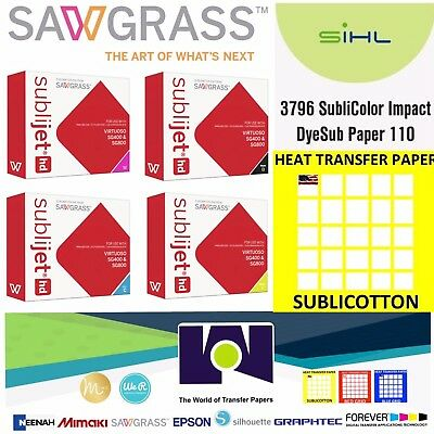 SUPER QUALITY SAWGRASS Combo, Ink Set CMYK + 100 Sh Pk Each Impact & SUBLICOTTON