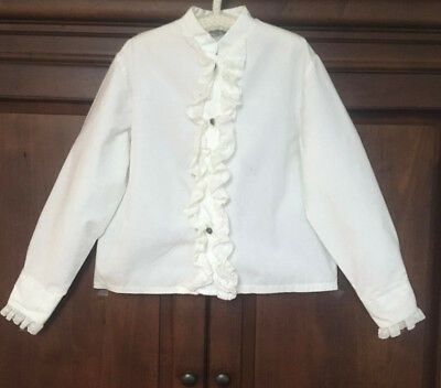 Vintage Girl's White German Dirndl Blouse  By Maikafer,  Size 9-10